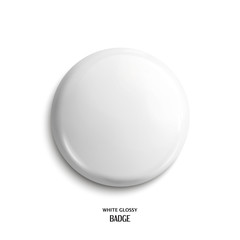 Vector blank, white glossy badge or web button. Vector.