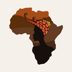 Africa continent and woman silhouettes
