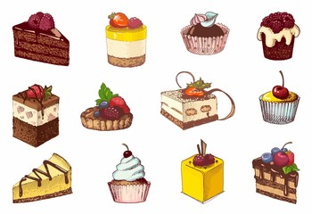 Colored sketches of cupcakes, berry pie and chocolate tiered cake