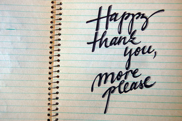 Happy Thank You More Please calligraphic background