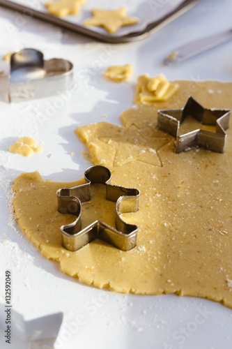 Making Christmas Biscuits With Gingerbread Man Star And Heart
