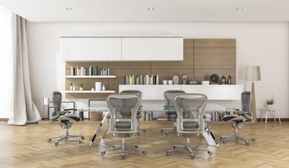 3d rendering business meeting room with nice wood floor