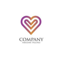 Heart icon vector logo. Heart logo, heart shape. love logo concept. . Heart logo. Heart icon. Love, health or doctor and relations symbol. Heart vector logo, heart together icons