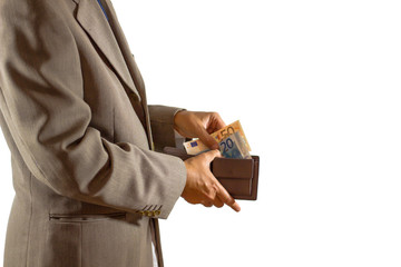 businessman taking money in wallet on white background. / business concept.
