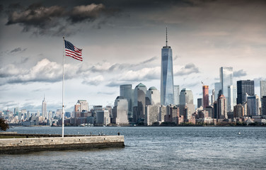American Flag in front of the Freedom Tower, New York