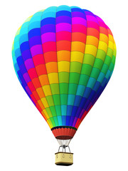 Color rainbow hot air balloon isolated on white background