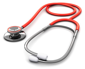 Red medical stethoscope