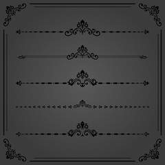 Vintage set of decorative horizontal dark elements. Horizontal separators in the frame. Collection of different ornaments. Classic patterns. Set of vintage patterns