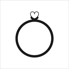 Ring with jewel Heart symbol silhouette icon on background