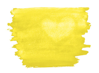 A fragment of a yellow watercolor background with the light silhouette of the heart