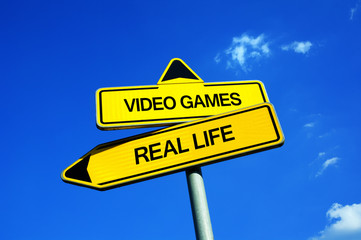 Video Games vs Real Life - Traffic sign with two options - spend time at home and play and enjoy virtual reality on computer and console vs do activities in reality. Addiction and social isolation