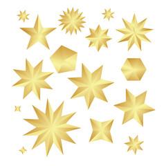 Set faceted gold stars.