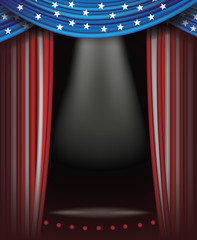 Red, white and blue starts and stripes curtains background. Spotlight and stage with copy space. American flag backdrop. EPS 10 vector.