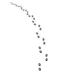 Black footprints of dogs, turn left