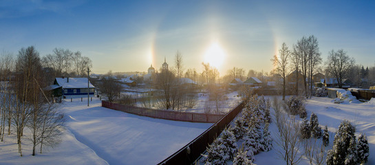 Halo effect of sun in Moscow region, Russia. Winter nature.