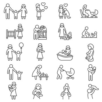 Family, icons set. Baby care, thin line design. Motherhood and fatherhood, linear symbols collection. The interaction of family members, isolated vector illustration.