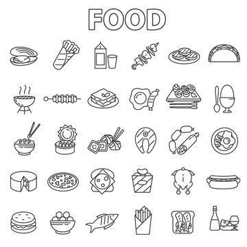 Food icons set. Various foodstuff, thin line design. Ready-made food, linear symbols collection.