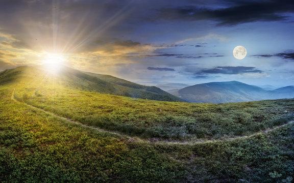 path through a meadow on the hillside