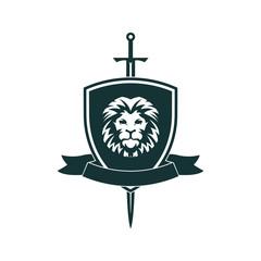 Lion shield. Royal lion shield.