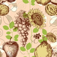 Fruits seamless pattern, retro style