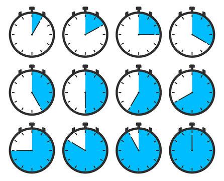 Stopp Uhr mit Zeit in Minuten oder Stunden in blauer Anzeige