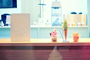 Store ice cream vintage tone.