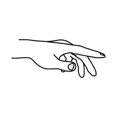 illustration vector doodle hand drawn of pointing hand isolated.