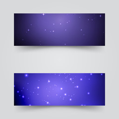 Banners with the starry sky. Vector illustration .