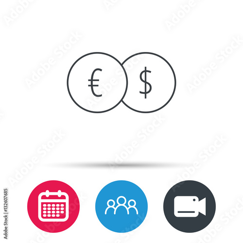 Banking Transfer Sign Euro To Dollar Symbol Group Of People