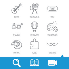 Puzzle, guitar music and theater masks icons. Ticket, video camera and 3d glasses linear signs. Entertainment, painting and mustache icons. Video cam, book and magnifier search icons. Vector