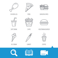 Vegetarian burger, pizza and soft drink icons. Coffee, ice cream and chips fries linear signs. Chicken leg, carrot icons. Video cam, book and magnifier search icons. Vector