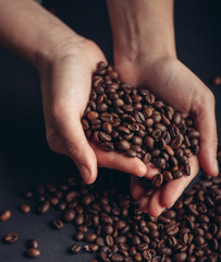 grains of coffee, hands