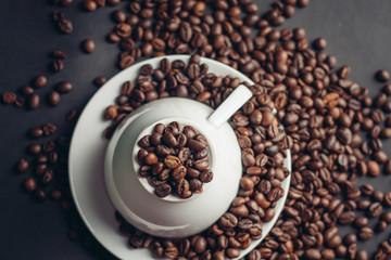 mug with coffee beans, close-up, drink, aroma