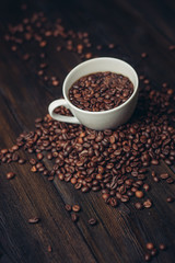 coffee beans, white mug, drink