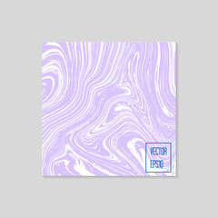 Abstract card with liquid lines. Marble effect. Vector illustration.