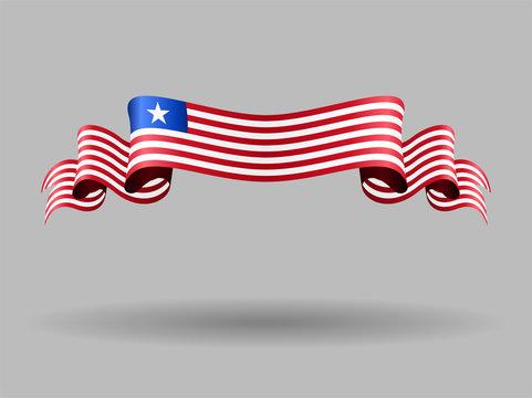 Liberian wavy flag. Vector illustration.