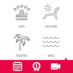 Achievement and video cam signs. Palm tree, waves and deck chair icons. Hotel linear sign. Calendar icon. Vector