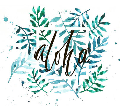 Vintage watercolor palm leaves background with word Aloha