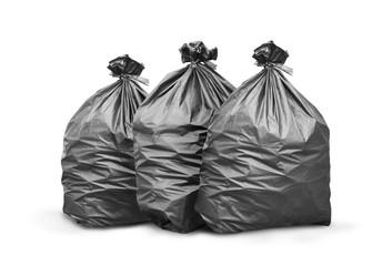 Black trash bag on white background