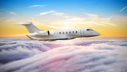 Private jet plane flying above clouds Wall mural