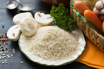 Top italian food - ingredients for risotto with mushrooms