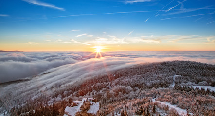 Wall Mural - Majestic sunrise in the winter mountains landscape.