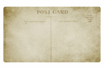 Old post card. Isolated on white background.