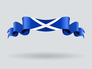 Scottish wavy flag. Vector illustration.