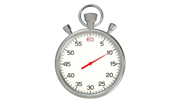 Classic stopwatch with red pointer on 10 second - isolated on white background