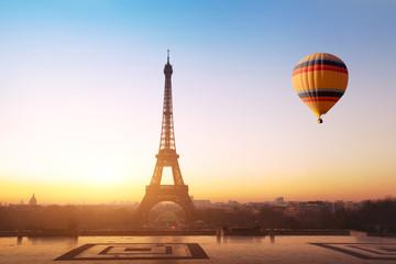 Foto auf Gartenposter Paris travel concept, beautiful view of hot air balloon flying near Eiffel tower in Paris, France, tourism in Europe