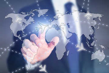 cheap plane tickets, choose travel destination online concept, airplane on the world map on touch screen