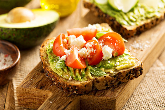 Avocado toast with tomatoes and feta