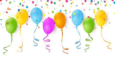 Bunte Luftballons mit Bänder und Konfetti