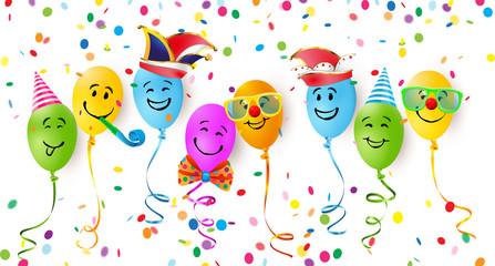 Fröhliche Luftballon Gesichter mit Fasching Verkleidung und Konfetti